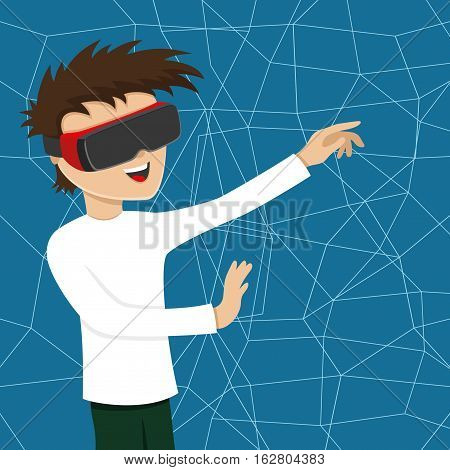 Man with glasses of virtual reality in the virtual space.