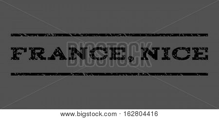 France, Nice watermark stamp. Text caption between horizontal parallel lines with grunge design style. Rubber seal stamp with unclean texture. Vector black color ink imprint on a gray background.