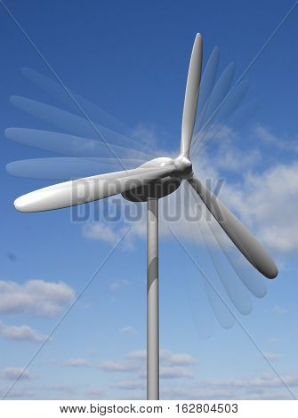 white wind turbine generating electricity on blue sky.