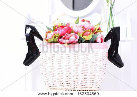 Black Shoes In Vintage Basket