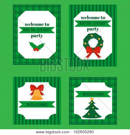 Printable set of Christmas and New Year party elements. Templates labels icons and wraps with Gift holly jingle bells cookie Xmas tree ball mittens fir tree and candycane. Design elements.