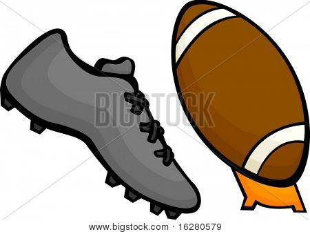 sport shoe kicking a football ball