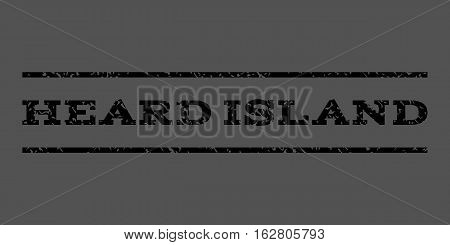 Heard Island watermark stamp. Text tag between horizontal parallel lines with grunge design style. Rubber seal stamp with dirty texture. Vector black color ink imprint on a gray background.