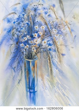 cornflowers and camomiles in the glass vase watercolor