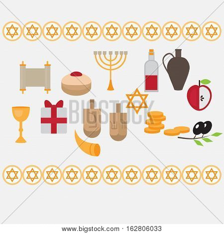 Jewish holiday Hanukkah design elements with traditional donuts holiday candlestick menora and scroll horn and wooden spinning top and coins. Happy Hanukkah greeting card. Hebrew Judaism symbols