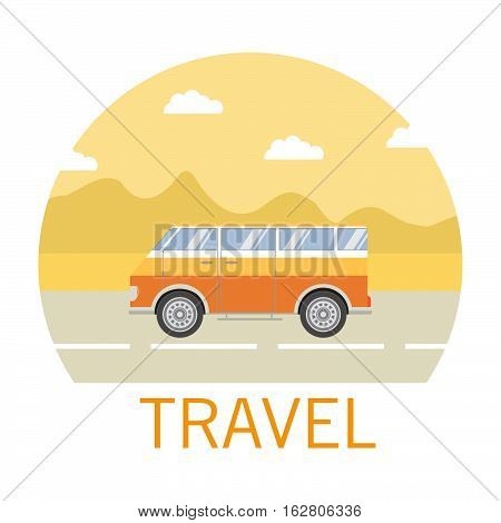Vector flat about a landscape the van and an inscription a travel.Road travel in the van.Design element for a poster about a travel on roads and the nature.  The tourist van for all family.