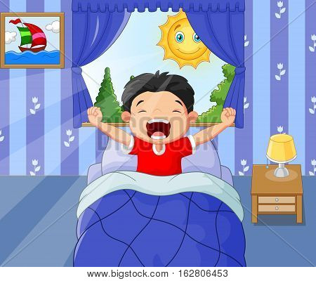 Vector illustration of Little boy woke up and yawns