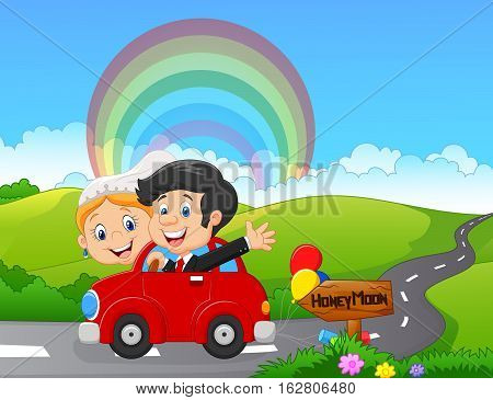 Vector illustration of Just married couple driving a car in honeymoon trip
