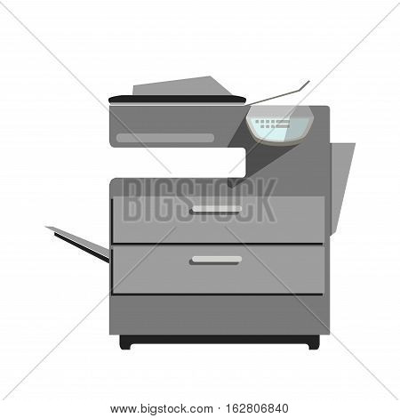 Vector icon of laser printer copy machine. Office equipment for photocopy of document. Digital hardware for photocopier graphic illustration in flat design. Modern copier device, isolated on white