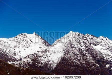 The Tops Of The Mountains Covered With Snow.