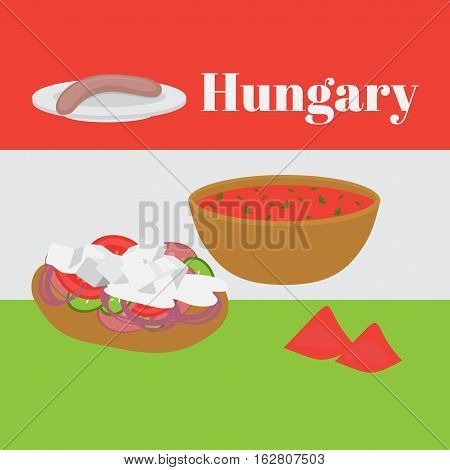 Hungarian cuisine fried bread langos with cream and cheese served with salami egg noodles and meat stew fish soup with paprika pepper vegetable salad and stove cakes with lemonade