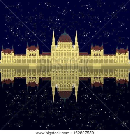 Hungarian City sight. Hungary Landmark Global Travel And Journey Architecture Elements Star Night Budapest parliament on Danube river