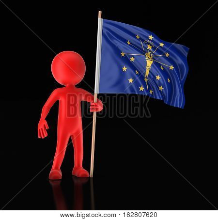 3D Illustration. Man and flag of the US state of Indiana. Image with clipping path