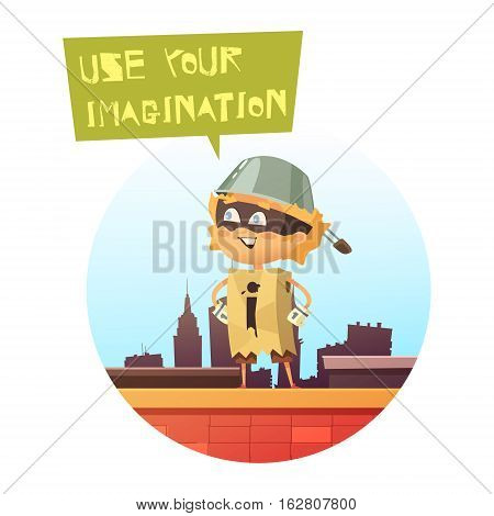 Comic kid image standing on roof of city building in superhero costume made from carton box and frying pan flat vector illustration