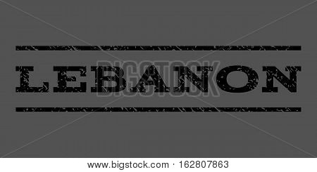 Lebanon watermark stamp. Text caption between horizontal parallel lines with grunge design style. Rubber seal stamp with dust texture. Vector black color ink imprint on a gray background.