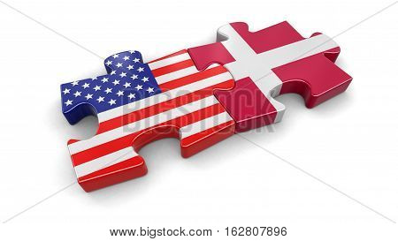 3D Illustration. USA and Denmark puzzle from flags. Image with clipping path