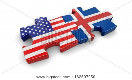 3D Illustration. USA and Iceland puzzle from flags. Image with clipping path