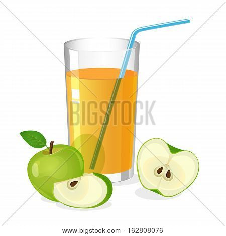 Realistic glass of apple juice drink with cocktail straw. Juice with apple half and slice isolated on white. Fresh refreshment beverage. Natural sweet portion of vitamins. Vector illustration