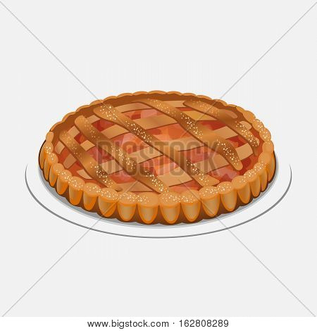 Whole apple pie on the plate isolated on white background. Served with whipped cream or ice cream on top, sugar powder. Apple strudel, pie-like dish made with dough, apples, sugar and spices. Vector