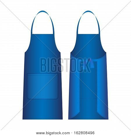 Apron isolated on white. Blue outer protective garment covers primarily front of body. May be worn for hygienic reasons in order to protect clothes from wear and tear. Front and back view. Vector