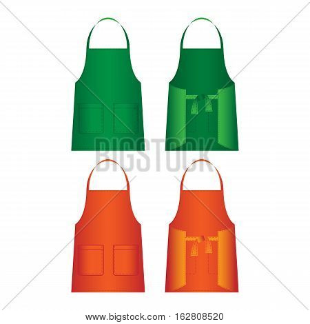 Set of aprons isolated on white. Part of uniform of several work categories, including waitresses, nurses, and domestic workers, homemakers. Front and back view in green and orange colors. Vector