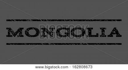 Mongolia watermark stamp. Text tag between horizontal parallel lines with grunge design style. Rubber seal stamp with scratched texture. Vector black color ink imprint on a gray background.