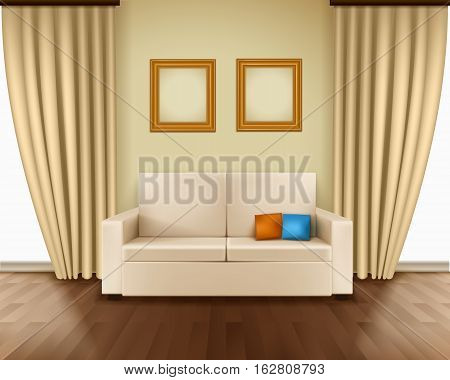 Realistic room interior with luxury window curtain sofa pillows frames and parquet floor vector illustration