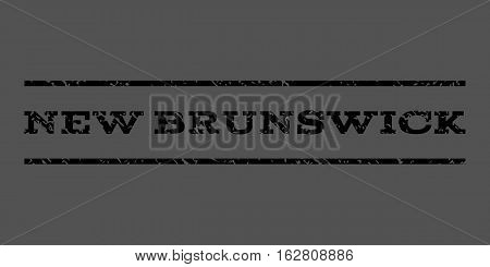 New Brunswick watermark stamp. Text tag between horizontal parallel lines with grunge design style. Rubber seal stamp with unclean texture. Vector black color ink imprint on a gray background.