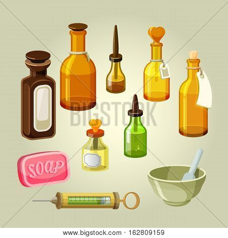 Empty bottles, flasks, potions and drops vector set. Apothecary remedies. Reservoirs for shampoos, oils, pharmacology elixirs. Drugstore mixtures. Laboratory medicaments. Soap and syringe illustration
