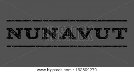 Nunavut watermark stamp. Text tag between horizontal parallel lines with grunge design style. Rubber seal stamp with scratched texture. Vector black color ink imprint on a gray background.