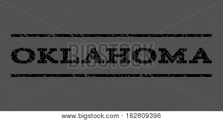Oklahoma watermark stamp. Text caption between horizontal parallel lines with grunge design style. Rubber seal stamp with dust texture. Vector black color ink imprint on a gray background.