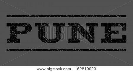 Pune watermark stamp. Text tag between horizontal parallel lines with grunge design style. Rubber seal stamp with scratched texture. Vector black color ink imprint on a gray background.