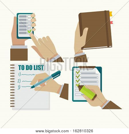 Time management flat icons set. To do list, notebook, work checklist, task or plan, planner, checkboxes on smartphone. Vector business graphic illustration isolated on white background