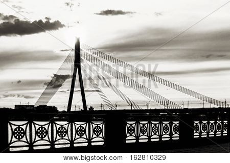 Riga Latvia - august 1 2014: large Cable-stayed bridge in Riga Latvia in black and white