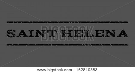 Saint Helena watermark stamp. Text tag between horizontal parallel lines with grunge design style. Rubber seal stamp with scratched texture. Vector black color ink imprint on a gray background.