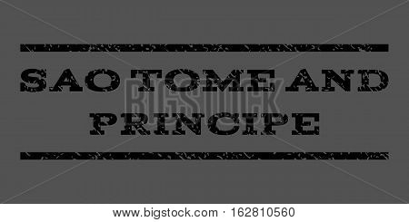 Sao Tome and Principe watermark stamp. Text tag between horizontal parallel lines with grunge design style. Rubber seal stamp with scratched texture.