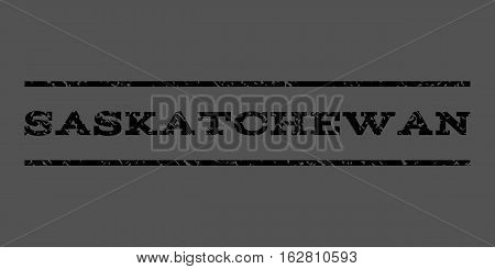 Saskatchewan watermark stamp. Text tag between horizontal parallel lines with grunge design style. Rubber seal stamp with unclean texture. Vector black color ink imprint on a gray background.