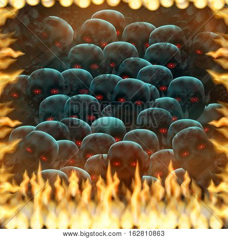 The other world, crowd of the isolated demons from the real world, tries to reach the real world through the mirror captured by fire.
