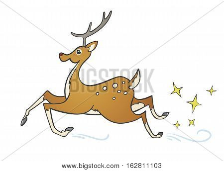 Funny cartoon spotted deer on the run, isolated vector illustration