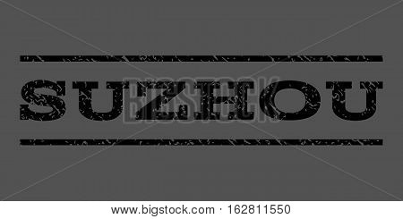 Suzhou watermark stamp. Text tag between horizontal parallel lines with grunge design style. Rubber seal stamp with dirty texture. Vector black color ink imprint on a gray background.