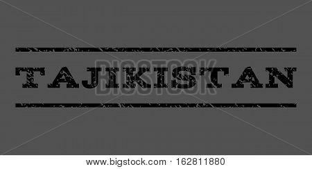 Tajikistan watermark stamp. Text tag between horizontal parallel lines with grunge design style. Rubber seal stamp with dirty texture. Vector black color ink imprint on a gray background.