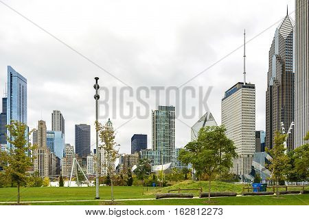 Chicago IL USA october 28 2016 Millennium park chicago amphitheatre panorama