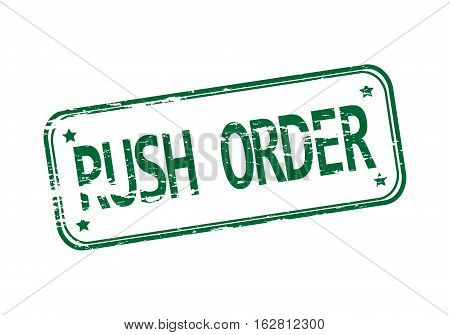 Rubber stamp with the word rush order isolated from the background, vector illustration.