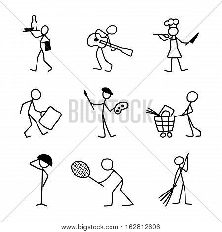 Cartoon icons set of sketch vector people in different professions.