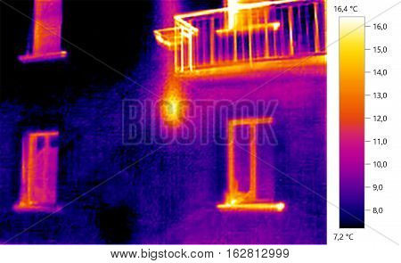 Thermal image photo building, windows, color scale
