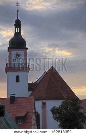 Catholic Parish Church St. Johann Baptist In Hilpoltstein, Germany In Evening Light