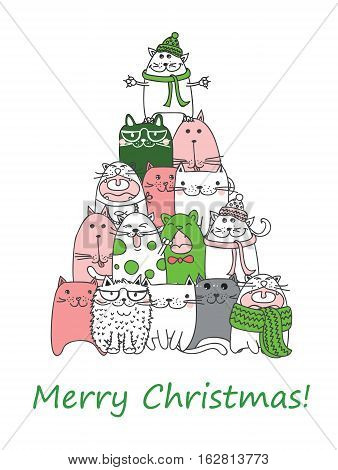 We wish you a Merry Christmas and a happy New Year. Stylish holiday card with cute cats in vector.