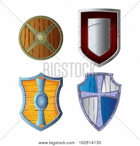 Set of wooden armour made of wood and metal isolated on white background. Wooden shields with metallic frame and middle in center. War protective element. Medieval protection item symbol, vector