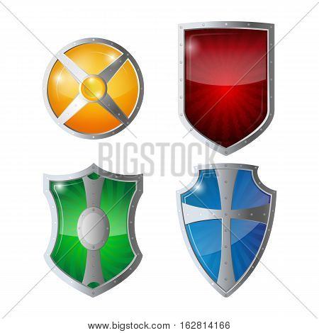 Reflection glossy green, orange, blue, yellow red shields with emblems. Set of shields protection, web security, antivirus logotype concept. Safeguard policy defence sign vector illustration