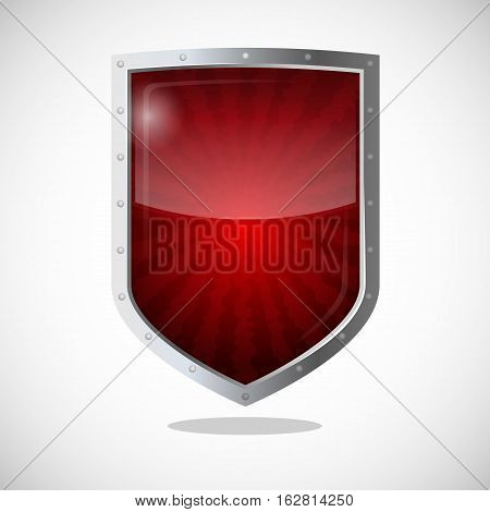Protection armor shield concept. Security guardianship logotype, symbol of defense, antivirus company concept. Vector cryptography icon safeguard dark red badge with lines going from center.